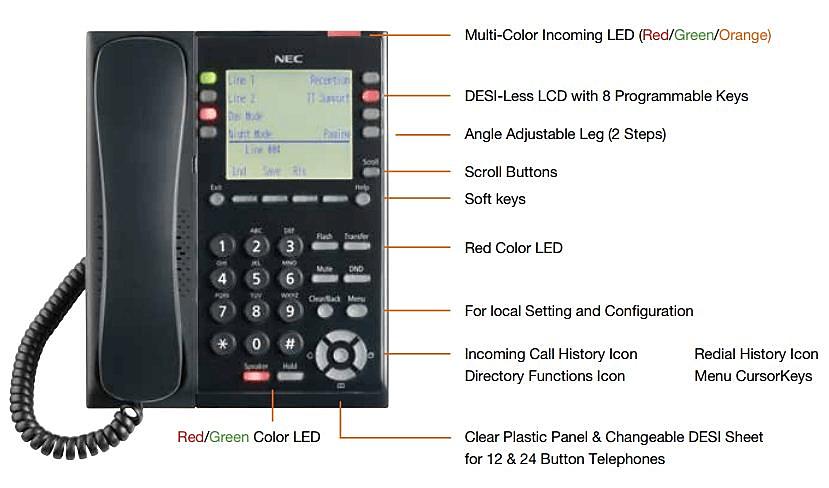 NEC SL2100 8 button Digital Phone - IP7WW-8IPLD-C1 TEL(BK